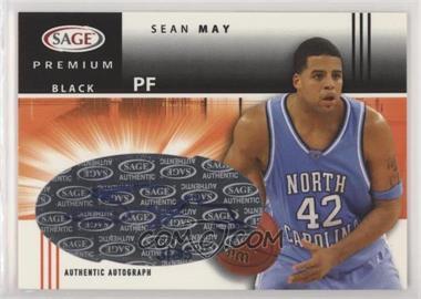2005 SAGE - Premium Portrait Autographs - Black #P22 - Sean May /25