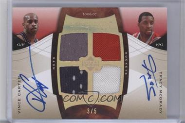 2006-07 Upper Deck Exquisite Collection - Autograph Dual Jerseys - [Autographed] #ADJ-CM - Vince Carter, Tracy McGrady /5