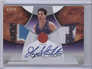 2006-07 Upper Deck Exquisite Collection - Emblems of Endorsements - [Autographed] #EM-JS - John Stockton /15