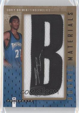 2007-08 Fleer Hot Prospects - Rookie Materials Manufactured Letter Patch Autographs - [Autographed] #RM-CB - Corey Brewer