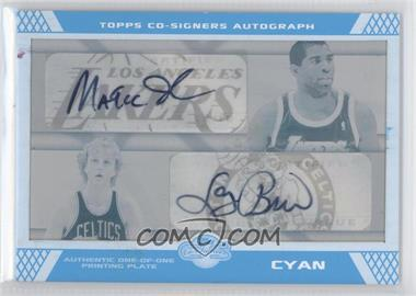2007-08 Topps Co-Signers - Co-Signers Autographs - Printing Plate Cyan [Autographed] #CS-6 - Magic Johnson, Larry Bird /1