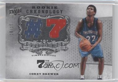 2007-08 Upper Deck Chronology - Stitches in Time Memorabilia - Draft Year Numbers #SIT-CB - Corey Brewer /15