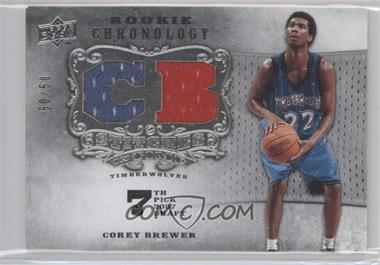 2007-08 Upper Deck Chronology - Stitches in Time Memorabilia - Player Initials #SIT-CB - Corey Brewer /50