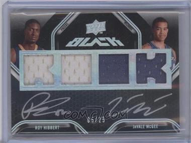 2008-09 UD Black - Dual Rookie Autographs - Jerseys [Autographed] #DR-HM - Roy Hibbert, JaVale McGee /25