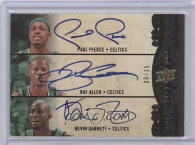 2008-09 UD Premier - Premier Trios Autographs #P3-PAG - Kevin Garnett, Ray Allen, Paul Pierce /15