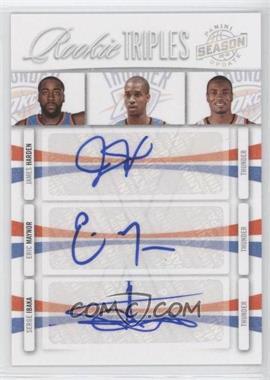 2009-10 Panini Season Update - Rookie Triples Signatures #2 - Eric Maynor, James Harden, Serge Ibaka /49