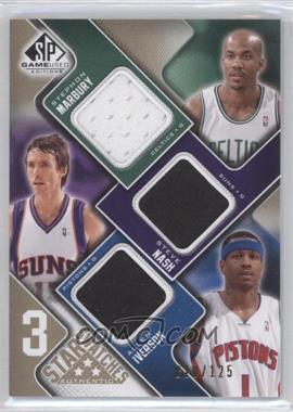 2009-10 SP Game Used - 3 Star Swatches - Level 1 #3S-NIM - Stephon Marbury, Steve Nash, Allen Iverson /125
