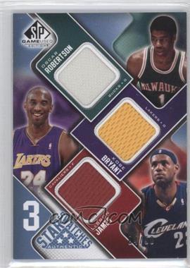 2009-10 SP Game Used - 3 Star Swatches - Level 2 #3S-BMJ - Oscar Robertson, Kobe Bryant, Lebron James /50