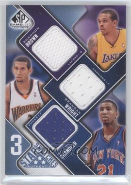2009-10 SP Game Used - 3 Star Swatches - Level 2 #3S-BWC - Shannon Brown, Brandan Wright, Wilson Chandler /50