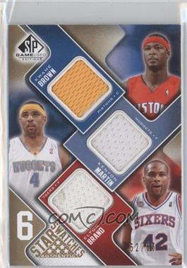 2009-10 SP Game Used - 6 Star Swatches - Level 1 #BMBDIO - Kwame Brown, Elton Brand, Tim Duncan, Allen Iverson, Shaquille O'Neal, Kenyon Martin /65