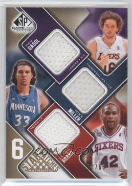 2009-10 SP Game Used - 6 Star Swatches - Level 1 #GMBCDI - Pau Gasol, Elton Brand, Vince Carter, Tim Duncan, Allen Iverson, Mike Miller /65