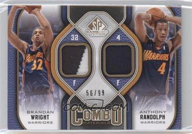 2009-10 SP Game Used - Combo Materials - Patch #CP-WR - Brandan Wright, Anthony Randolph /99