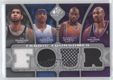 2009-10 SP Game Used - Fabric Foursomes #F4-DMIO - Tim Duncan, Allen Iverson, Shaquille O'Neal, Karl Malone /199