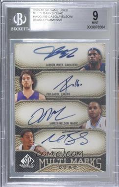 2009-10 SP Game Used - Multi Marks Quad Autographs - [Autographed] #MQ-GJNB - LeBron James, Pau Gasol, Jameer Nelson, Michael Beasley /25 [BGS9MINT]
