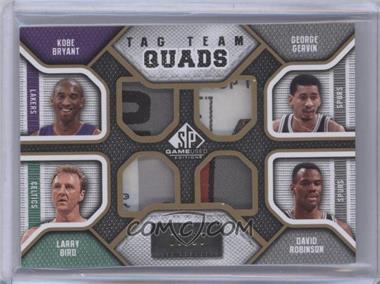 2009-10 SP Game Used - Tag Team Quads #TQ-KGLD - Kobe Bryant, Larry Bird, George Gervin, David Robinson /10