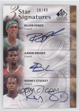 2009-10 SP Signature Edition - 3 Star Signatures - [Autographed] #3S-RSB - Rajon Rondo, Aaron Brooks, Rodney Stuckey /49