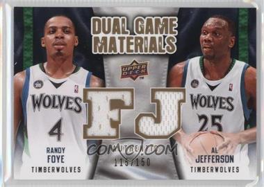 2009-10 Upper Deck - Dual Game Materials - Gold #DG-FJ - Al Jefferson, Randy Foye /150