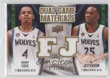 2009-10 Upper Deck - Dual Game Materials - Gold #DG-FJ - Al Jefferson, Randy Foye /150