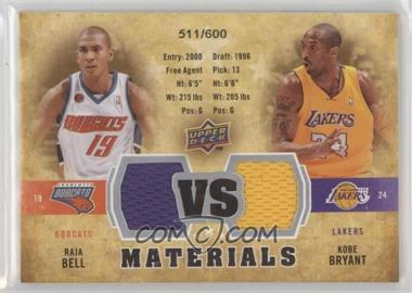 2009-10 Upper Deck - VS Dual Materials #VS-BB - Raja Bell, Kobe Bryant /600