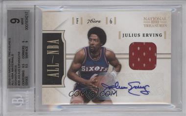 2010-11 Playoff National Treasures - All-NBA - Materials Signatures [Autographed] [Memorabilia] #20 - Julius Erving /10 [BGS9]