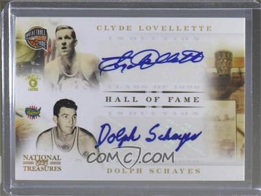 2010-11 Playoff National Treasures - Hall of Fame Signatures Combos #4 - Clyde Lovellette, Dolph Schayes /50