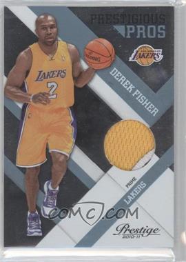 2010-11 Prestige - Prestigious Pros - Platinum Patches Prime [Memorabilia] #58 - Derek Fisher /25