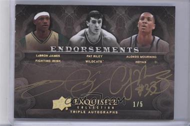 2011-12 Exquisite Collection - Endorsements Triple Autographs - Gold Spectrum #EE3-JRM - Lebron James, Pat Riley, Alonzo Mourning /5