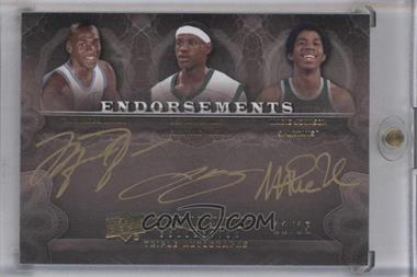 2011-12 Exquisite Collection - Endorsements Triple Autographs #EE3-JJJ - Lebron James, Magic Johnson, Michael Jordan /15