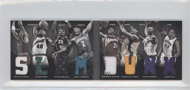 2011-12 Panini Preferred - Slam Dunk Material Booklet #2 - Larry Johnson, Shaquille O'Neal, Clyde Drexler, Dominique Wilkins, Grant Hill, Kevin Garnett, Scottie Pippen, Shawn Kemp /125