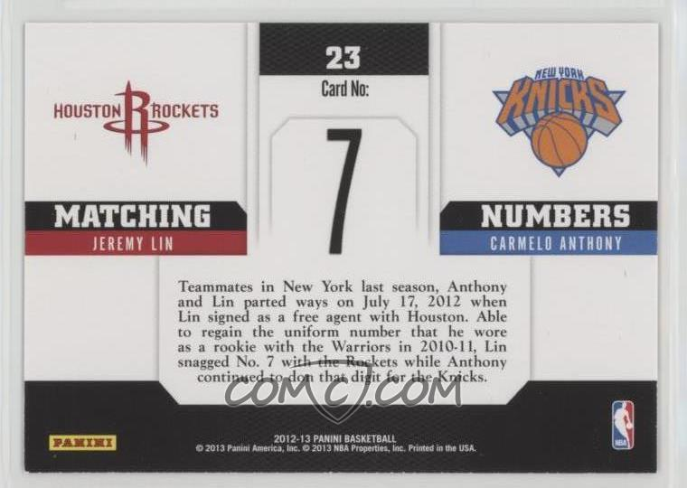 2012-13 Panini - Matching Numbers #23 - Carmelo Anthony