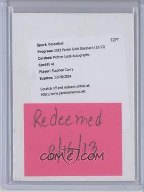 2012-13 Panini Gold Standard - Mother Lode #41 - Stephen Curry /99 [REDEMPTIONBeingRedeemed]