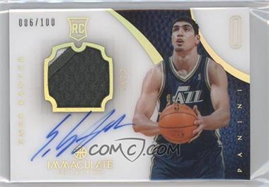 2012-13 Panini Immaculate Collection - [Base] - Jersey Number #103 - Rookie Patch Autograph - Enes Kanter /100