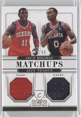 2012-13 Panini National Treasures - Matchups Materials #62 - Jeff Teague, Jrue Holiday /99