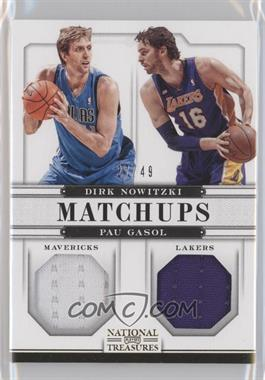 2012-13 Panini National Treasures - Matchups Materials #74 - Dirk Nowitzki, Pau Gasol /49