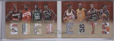 2012-13 Panini Preferred - 50 Greats Material Booklet - Laundry Tags #1 - Clyde Drexler, David Robinson, Hakeem Olajuwon, Moses Malone, Patrick Ewing, Robert Parish, Shaquille O'Neal, George Gervin /1