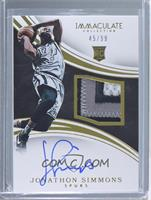 Rookie Patch Autographs - Jonathon Simmons /99