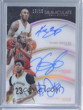 2015-16 Panini Immaculate Collection - Trio Autographs #11 - Anthony Davis, Kevin Durant, Kobe Bryant /15