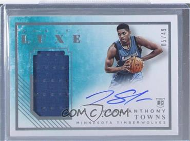 2015-16 Panini Luxe - Rookie Memorabilia Autographs #RM-KAT - Karl-Anthony Towns /49