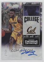 College Ticket Variation - Jaylen Brown (Yellow Jersey) #/23