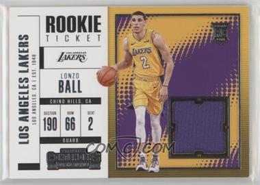 2017-18 Panini Contenders - Rookie Ticket Swatches #RTS-2 - Lonzo Ball