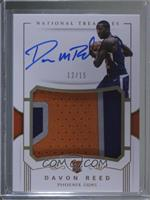 Rookie Patch Autographs - Davon Reed /15