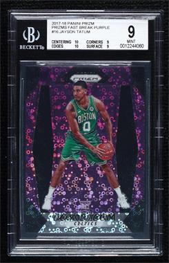 2017-18 Panini Prizm - [Base] - Fast Break Purple Prizms #16 - Jayson Tatum /75 [BGS 9 MINT]