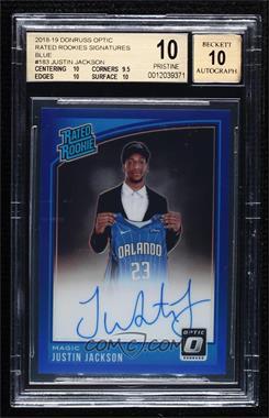 2018-19 Panini Donruss Optic - [Base] - Blue Prizm Signatures [Autographed] #183 - Rated Rookies Signatures - Justin Jackson /49 [BGS10PRISTINE]