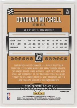 2018-19 Panini Donruss Optic - [Base] - Holo Prizm #63 - Donovan Mitchell - Courtesy of COMC.com