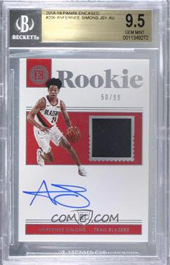2018-19 Panini Encased - [Base] #206 - Rookie Jersey Autographs - Anfernee Simons /99 [BGS9.5GEMMINT]
