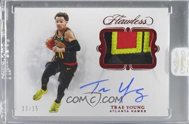 2018-19 Panini Flawless - Signature Prime Materials - Ruby #SP-TYG - Trae Young /15 [Uncirculated]