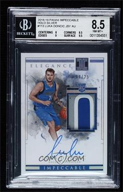 2018-19 Panini Impeccable - [Base] - Holo Silver #113 - Elegance Rookie Jersey Autographs - Luka Doncic /25 [BGS 8.5 NM‑MT+]