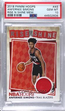 2018-19 Panini NBA Hoops - Rise N Shine Memorabilia #RNS-AS - Anfernee Simons [PSA10GEMMT]