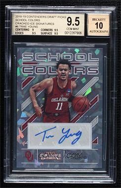 2018 Panini Contenders Draft Picks - School Colors Signatures - Cracked Ice #6 - Trae Young /23 [BGS9.5GEMMINT]