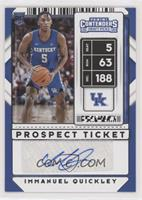 Stickers Autographs - Immanuel Quickley